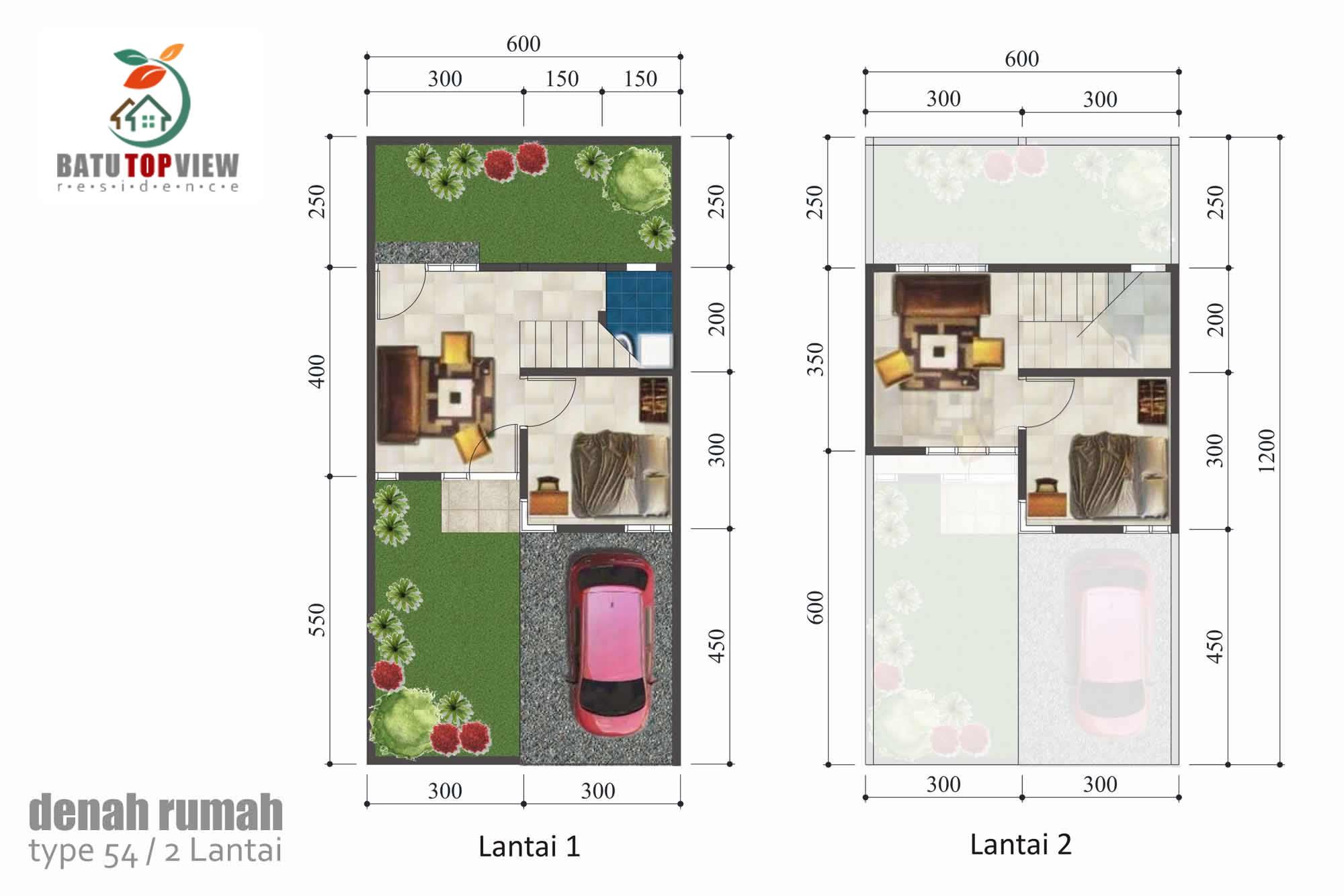 Contoh denah rumah type 54 2 lantai, ukuran tanah 6x12 meter