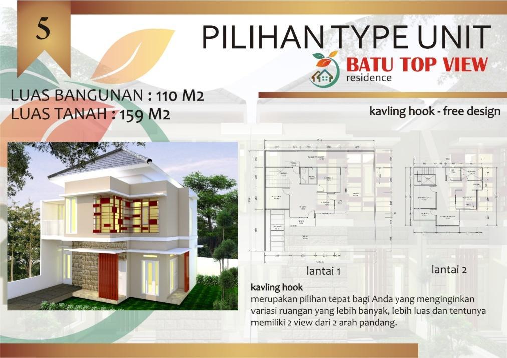 PERUMAHAN BATU TOP VIEW KAVLING HOOK TYPE 110/159