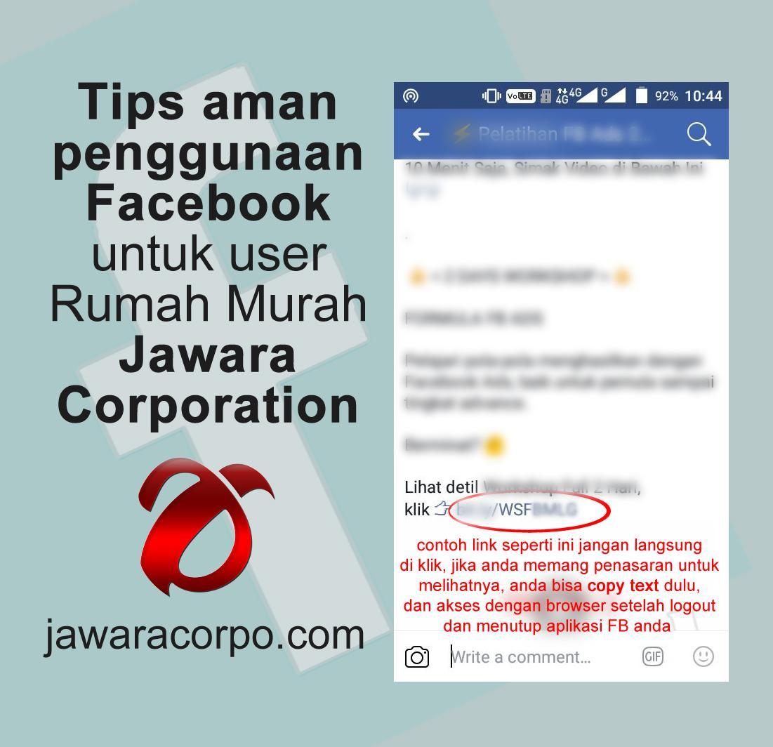 Tips aman penggunaan Facebook untuk user Rumah Murah Jawara Corporation