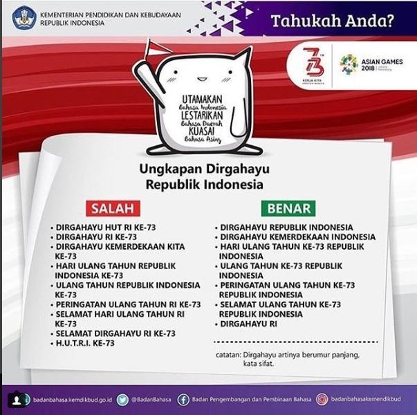 Ungkapan Dirgahayu Republik Indonesia yang Benar dan Tepat